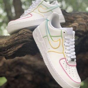 Rainbow 🌈 outline Customs Nike Air Force 1